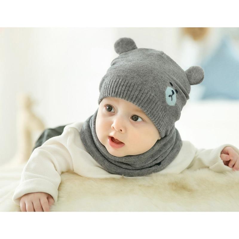 Baby Winter Caps Scarf Suits Warm Knitted Beanie Cap Cute Cartoon Bear Beanie NIN668