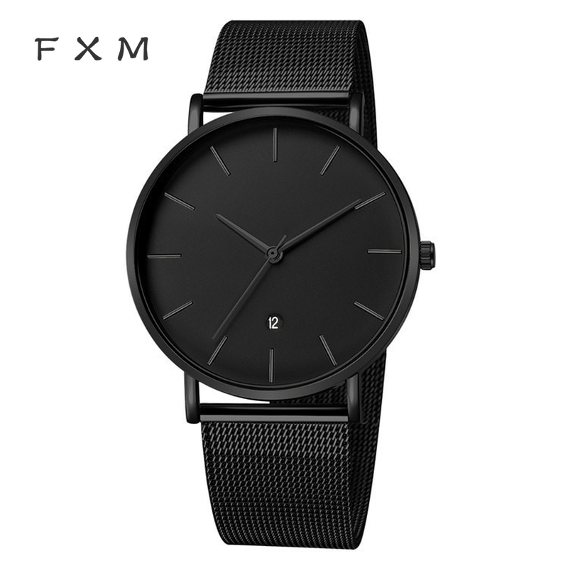FXM New Relogio Masculino 2020 Couple Watch Men's Fashion Simple With Steel Belt Watch Mesh Belt Quartz Watch Student Watch Wris