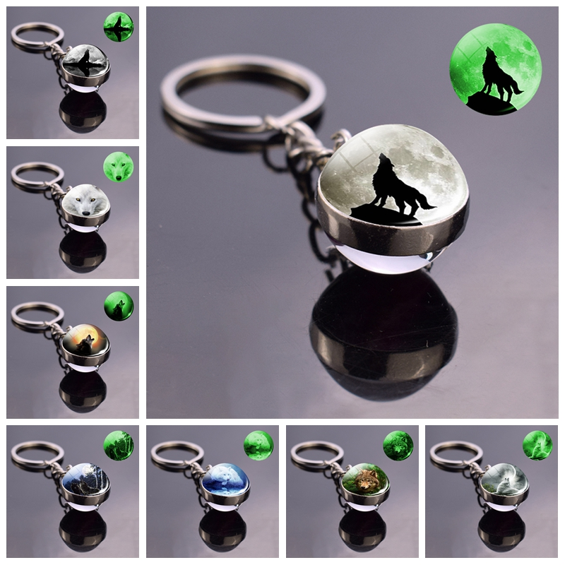 Wolf And Moon Keychain Glow In The Dark Keychain Double Side Glass Ball Key Chain Key Rings Luminous Wolf Head Accessories