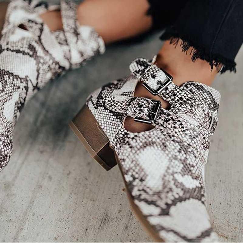 LOOZYKIT Yeni 2019 Sonbahar Kadın Çizmeler Kalın Topuk düz çizmeler kaymaz Kadın Ayak Bileği Ayakkabı Sonbahar Moda Deri Bot Boyutu 35-43