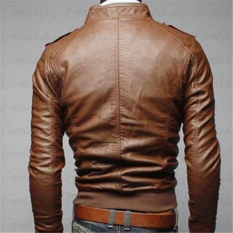 ゴシック男性のオートバイの Pu コートジャケットヴィンテージバイカーレトロカフェレーサーユーズド加工レザー男性ジッパージャケットコート