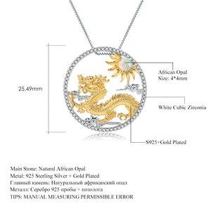 Image 5 - Gems Ballet Natuurlijke Afrikaanse Opaal Edelsteen Chinese Zodiac Sieraden 925 Sterling Zilveren Vliegende Draak Hanger Ketting Voor Vrouwen