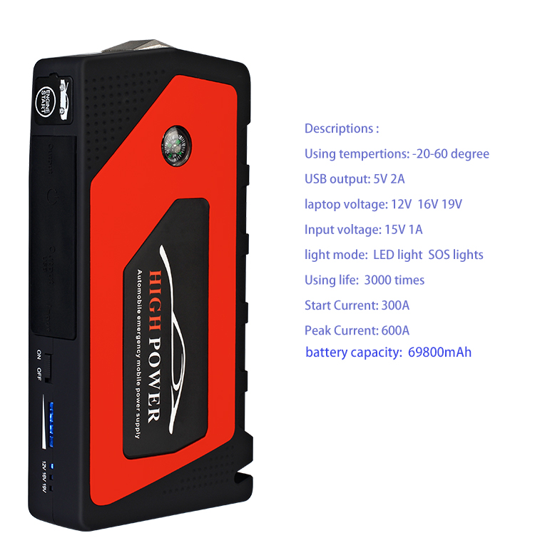 Carartclub 69800mAh 12V Car Jump Starter Emergency Starting Device 4USB LED Light Mobile Power Bank Car Charger Battery Booster in Jump Starter from Automobiles Motorcycles