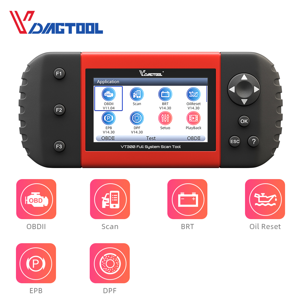 VDIAGTOOL VT300 Auto Diagnostic Scanner EPB DPF DRP BRT OBDII OBD2 Full Systems Support Multi Car Models Automotive Tools