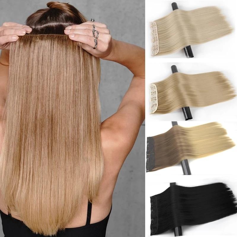 MERISI искусственные волосы на 5 заколках, длинные прямые накладные волосы, искусственные волосы, черные кусочки волос для женщин