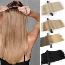 Merisi cabelo 5 grampos de cabelo sintético longo grampo em linha reta extensões de cabelo falso cabelo preto peças para mulheres