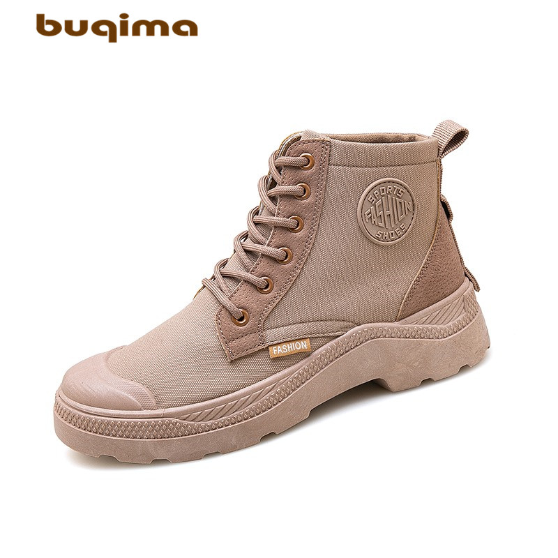 Buqima mens shoes high canvas Martin boots casual new lightweight black brown gray
