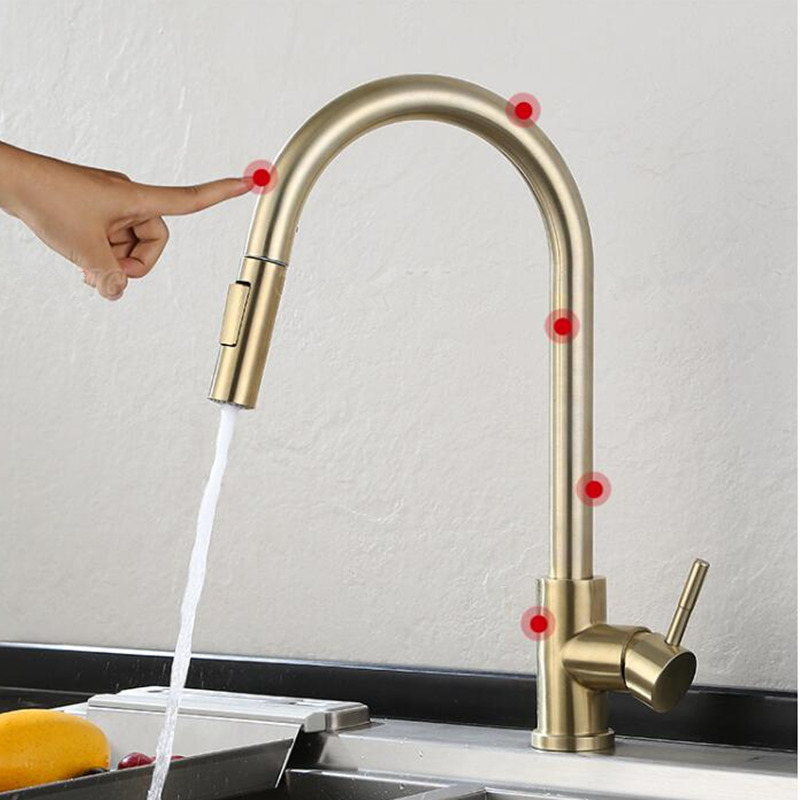 Pull Out Sensor Kitchen Faucet Brushed Gold Sensitive Touch Control Faucet Mixer Kitchen Touch  Black Sensor Kitchen Mixer Tap