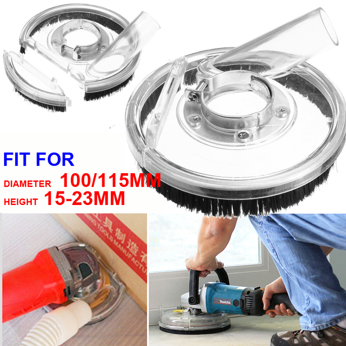 Dust Shroud Kit Dry Grinding Dust Cover For Angle Grinder 100/115mm Hand Grinder Power Tool Accessories Clear Vacuum Dust Cover