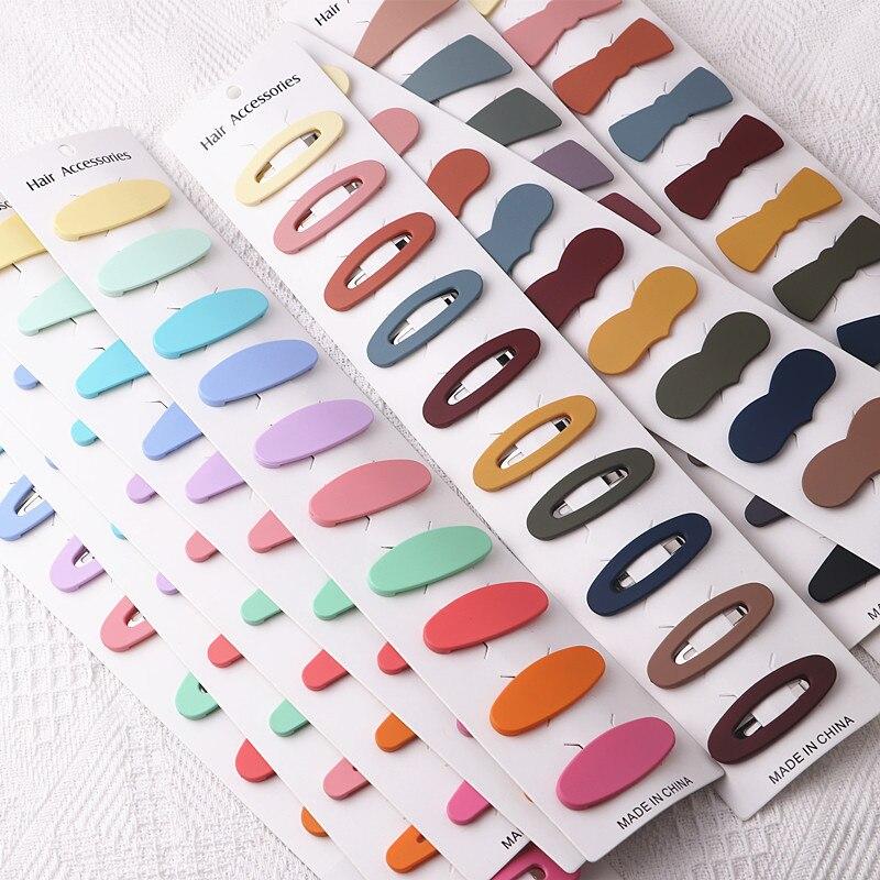 10 sztuk/partia proste cukierki kolor geometryczne spinki kobiety Barrette Hairgrips dziewczyny spinki do włosów stroik Barrettes Bobby Pin włosów