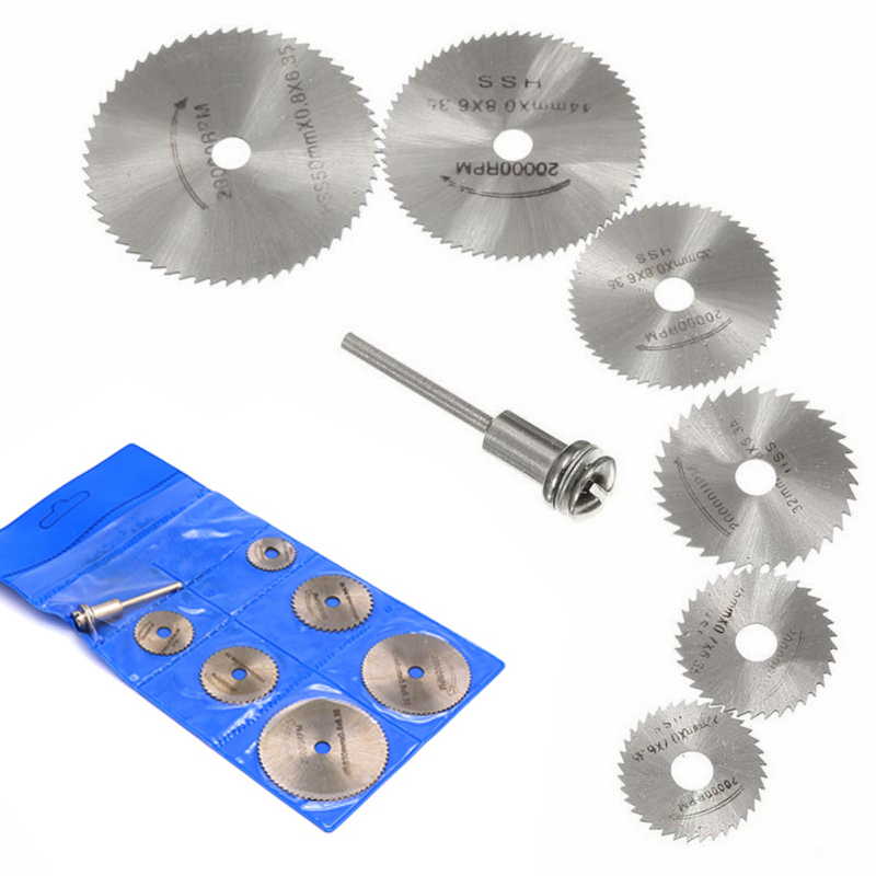 7pcs Mini HSS Circular Saw Blade Set Use For Wood Metal Plastic Cutting Wheel Disc Rotary Tool Accessories Woodworking Saw Blade