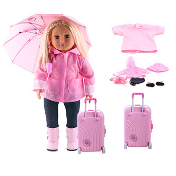 Free Shipping Doll Clothes Seven-Piece Raincoat, 18 American and 43cm Accessories Baby Girl Gift, Christmas Gift