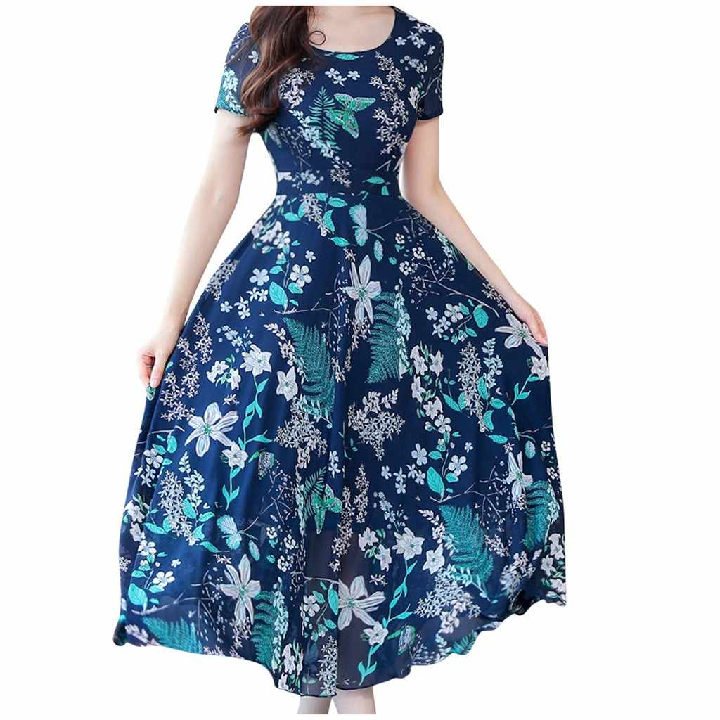 Elegant Dress Women Vintage Short Sleeve Floral Print Plus Size Dresses Women Beach Party Summer Long Maxi Dress 2019 Sukienki