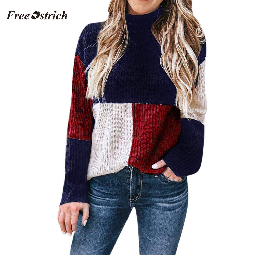 Free Ostrich Women Warm Winter And Autumn Sweater Colorblock Stand Long Sleeve Knit Women Sweater Jumper Pullover Tops 91021