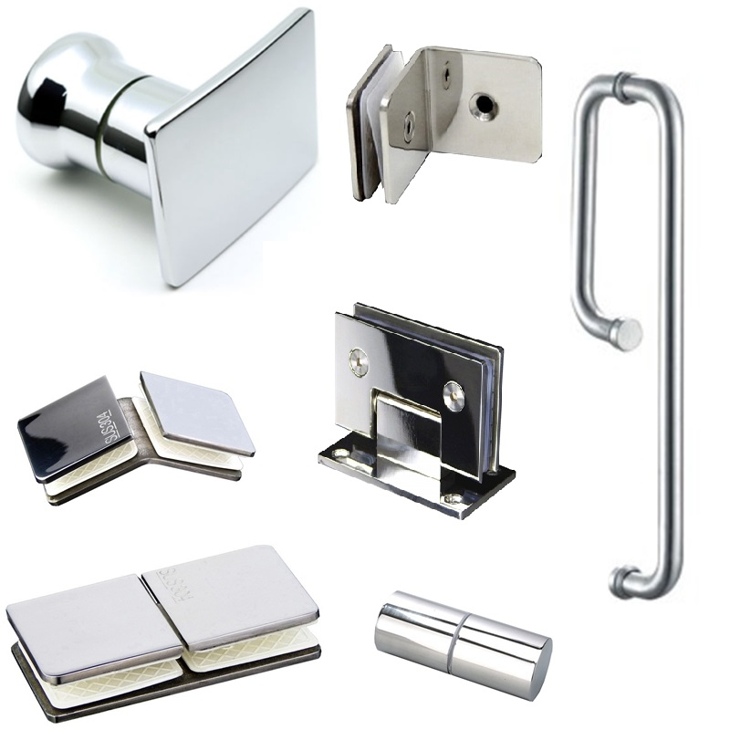 304 Stainless Steel Glass Door Hinge Shower Room Glass Door Handle Glass Clamp Door Clip Bathroom Accessories Hardware Silver
