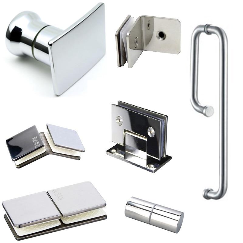 304 Stainless Steel Glass Door Hinge Shower Room Glass Door Handle Glass Clamp Door Clip Bathroom Accessories Hardware Silver