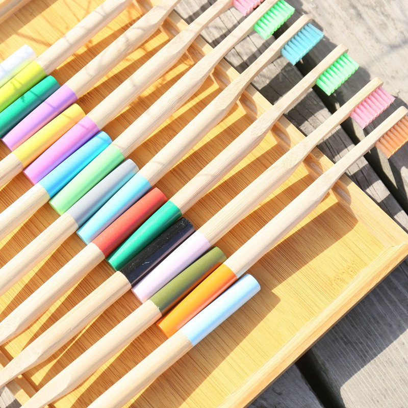10PCS Multi-Colors Bamboo Toothbrush Set Eco-Friendly Biodegradable Soft Teeth Brush Adults Organic Wood Colorful Tooth Brushes image