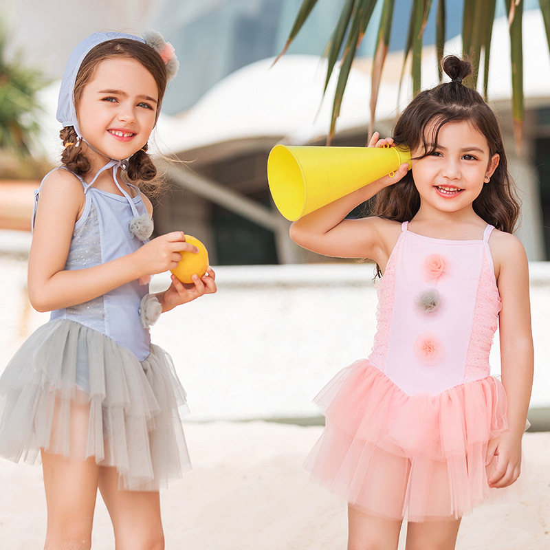 2019 Summer New Style Sweet Cute Tour Bathing Suit One-piece Similar To Mesh Dress Swimwear KID'S Swimwear Girls Tutu