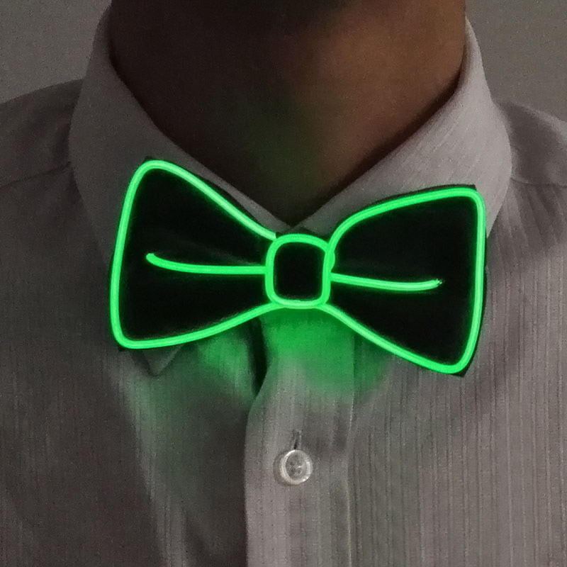 Fashion Men LED EL Wire Necktie Luminous Neon Flashing Light Up Bow Tie For Club Cosplay Evening Party Decoration FO Sale