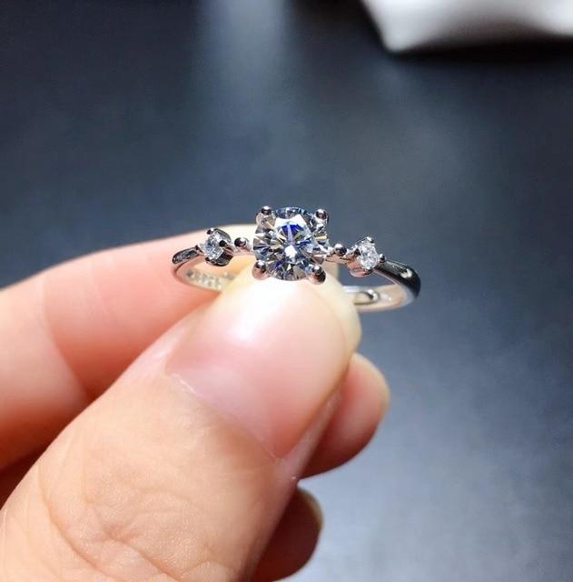 Moissanite rings color D VVS1 GRA certificate Black card 925silver Simple lady resizable rings for women 1