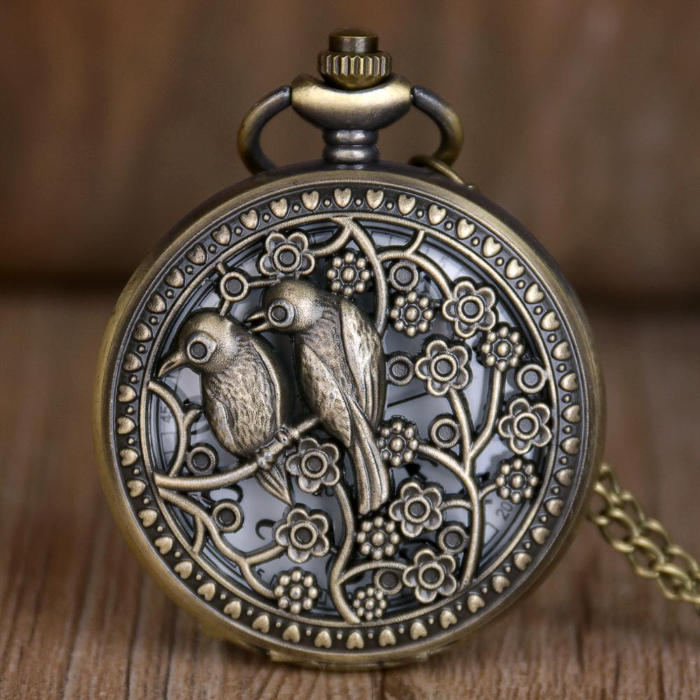 New Trendy Bronze Hollow Pocket Watches Lovely Bird Quartz Pocket Watches Retro Pocket Watches Gifts For Mens Womens