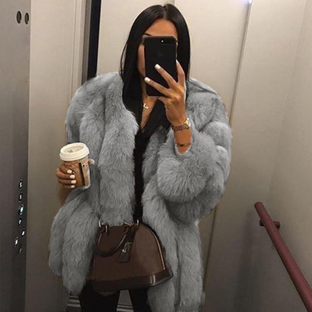 Winter Warm Faux Fur Coat Fashion Plus Size Women Luxury Soft Fur Jacket Coat Elegant Thick Outerwear Plush Teddy Coat