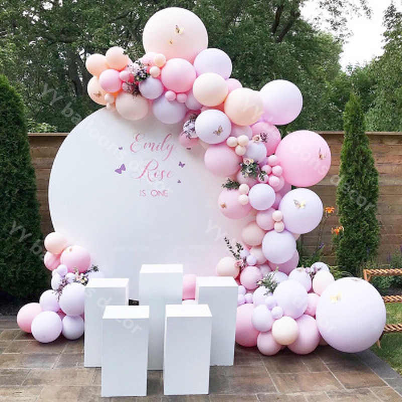 95pcs Balloon Garland Arch Kit Pastel Baby Pink purple skin Latex Balloons Wedding Birthday Baby Shower Gender Party Decoration