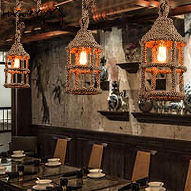 American Country Iron Rope Lamp Loft Personality Retro Restaurant Bar Room Bar Coffee Small Chandelier Luminaire