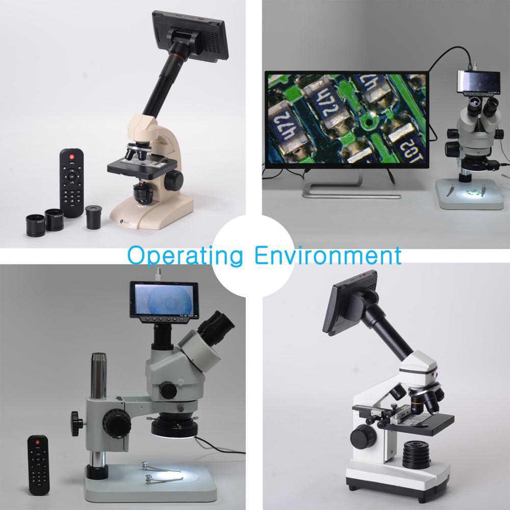 HY-1070 16MP 4K 1080P 60FPS USB WIFI numérique 150X industrie Microscope caméra avec 5 pouces écran c-mount Len 1/2. 3 capteur d'imagerie