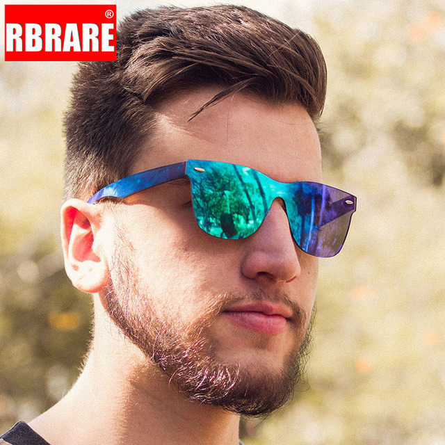 RBRARE-gafas de sol Siamesas para hombre y mujer, lentes de sol de lujo coloridas, Retro, con espejo rosa, 2021 1