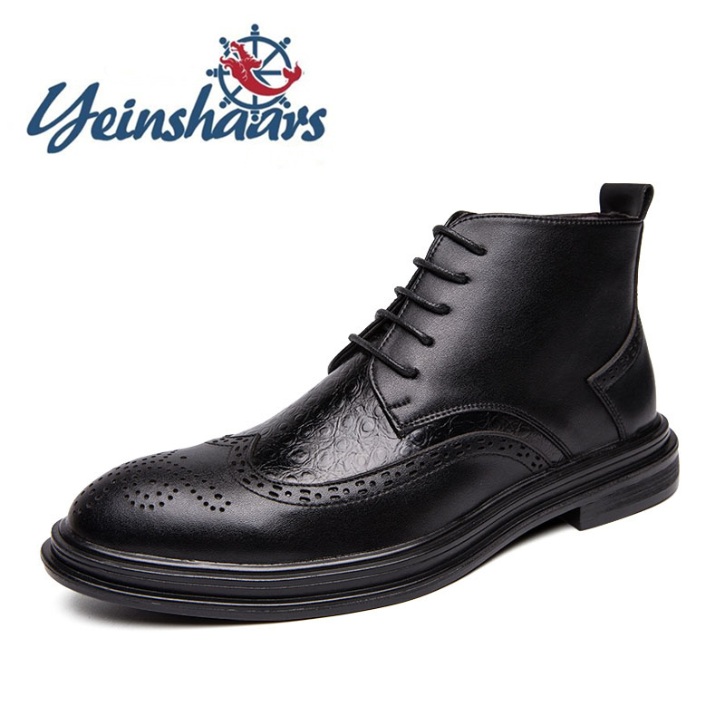 New Men Casual Natural Leather Brogue Shoes Business Office Formal Boots Crocodile Pattern Cowboy Botas Zapatos De Hombre Cuero