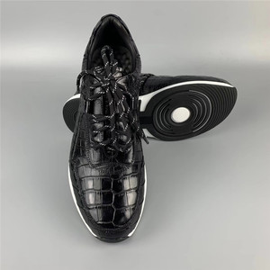 Image 3 - Authentic Crocodile Belly Skin Male Casual Black Sneakers Real Alligator Leather High Quality Soft Rubble Sole Men Lace up Shoe