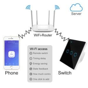 Image 4 - Wifi Touch Switch EU standard 1 2 3 Gang Glass Panel Smart Wall Light Switch Ewelink Wireless Control Support Alexa Google Home