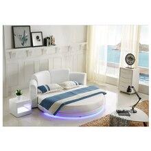 Горячая Распродажа цены двойная круглая кровать спальня мебель светодиодный светильник