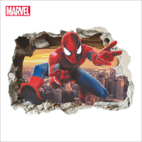 Marvel-pegatinas de pared de superhéroes, Spiderman, 3D, vívida, para decoración de habitación de niños, Mural de arte de la película de PVC