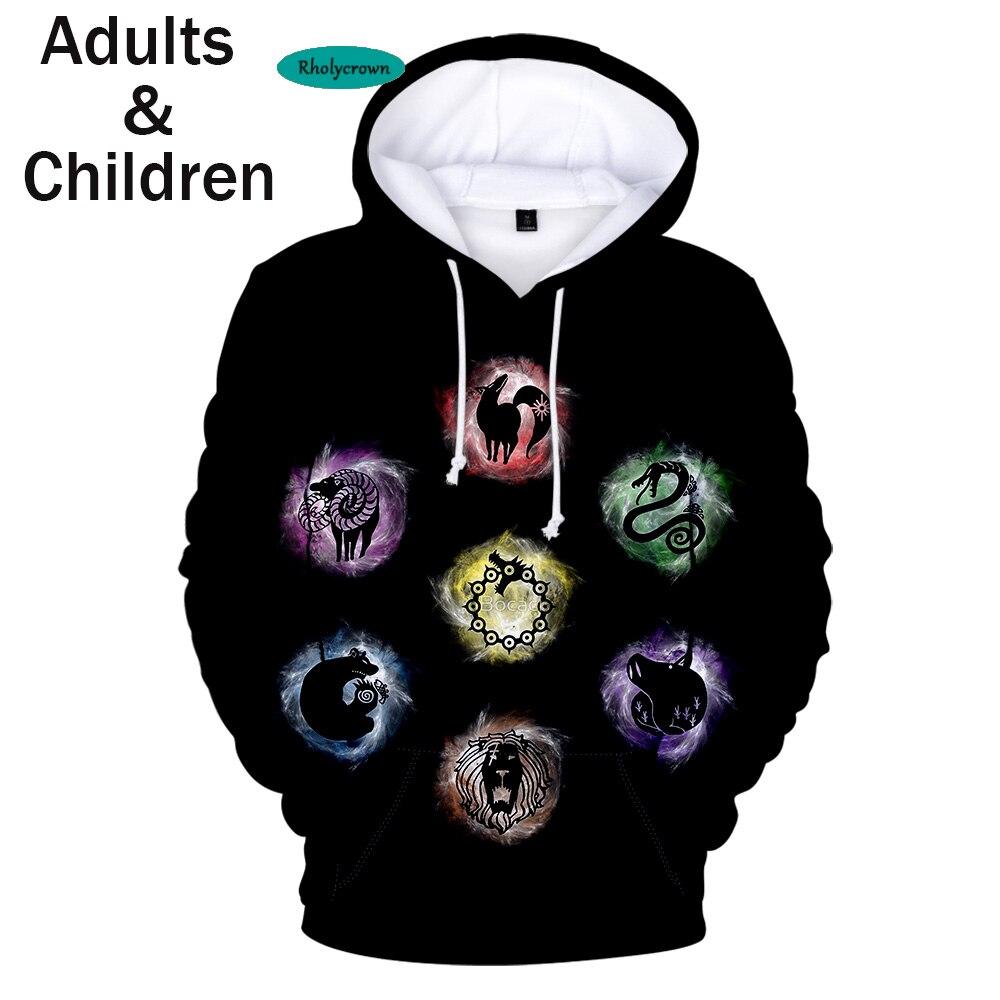 Black Hoodie 3D Printed Comic The Seven Deadly Sins Hoodies Men Sweatshirts Women Autumn Kids Hooded Hot 3D Boys Girls Pullovers