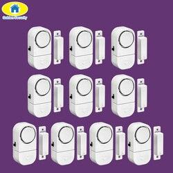 Ouro 10 pçs 90db sem fio da segurança da porta janela casa sistema de alarme segurança do assaltante sensor magnético para o sistema de segurança em casa