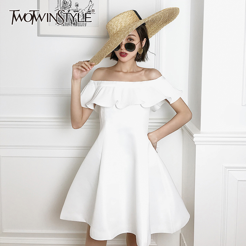 TWOTWINSTYLE Elegant Patchwork Ruffles Women Dress Slash Neck Short Sleeve High Waist Ruched Dresses For Female Fashion Clothes