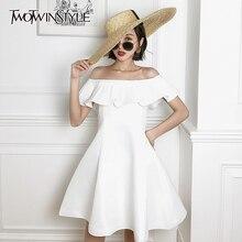 TWOTWINSTYLE Elegant Patchwork Ruffles Women Dress Slash Nec