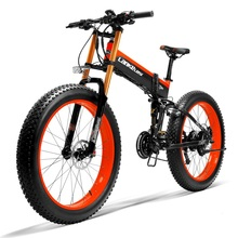 LANKELEISI Ebike with 26'' 48V 1000w Big Power Folding Electric Bike14.5A Li-ion Battery Fat Tire El