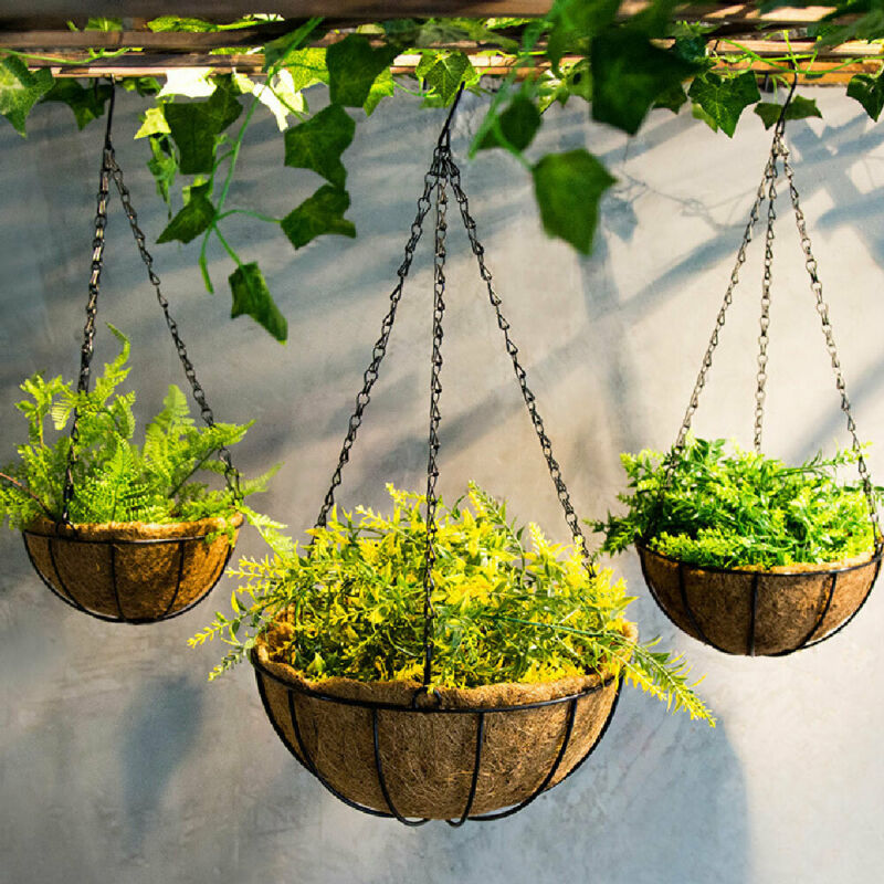 Hanging Coconut Vegetable Flower Plant Pot Basket Liners Planter Garden Hanging Basket Decor Iron Art Dropship