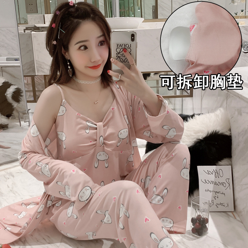 2019 Autumn Winter Women Cotton Pajamas Sets Cute 3 Pieces Sleepwear Nightwear Pijama Sleep Lounge Pyjama With Chest Pads