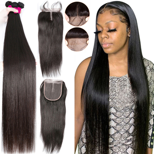 28 30 32 Inch Brazilian Hair Weave Bundles Straight 3 4 Bundles With Lace Front Closure Remy Human Hair Bundles With Closure