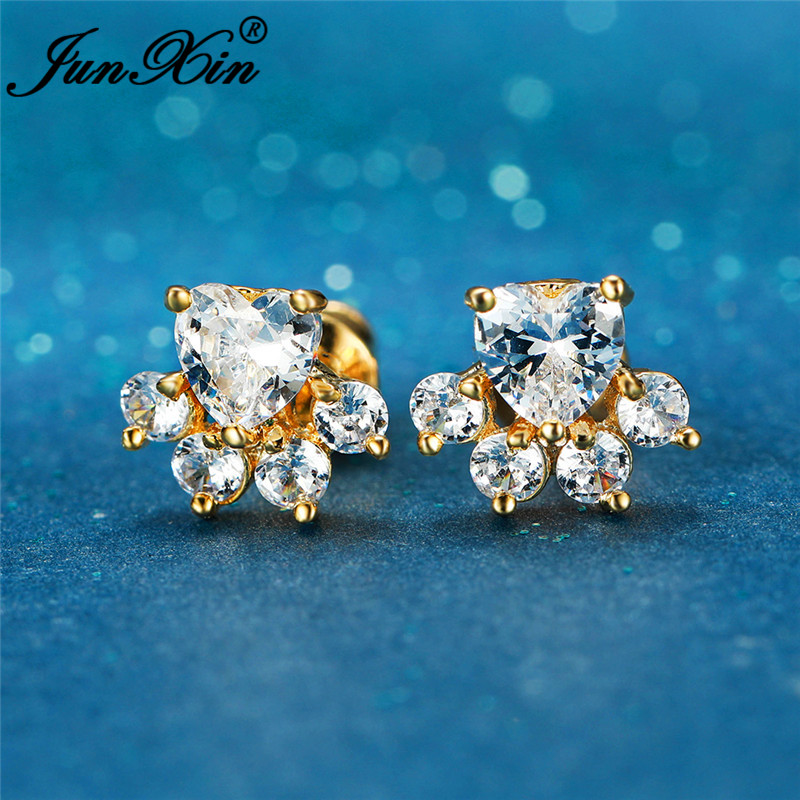 Cute Animal Footprint Cat Claw Bear Dog Paw Stud Earrings For Women Rose Yellow Gold White Zircon Small Heart Earrings Wedding