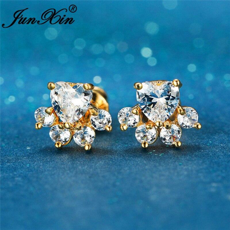 Cute Animal Footprint Cat Claw Bear Dog Paw Stud Earrings For Women Rose Yellow Gold White Zircon Small Heart Earrings Wedding