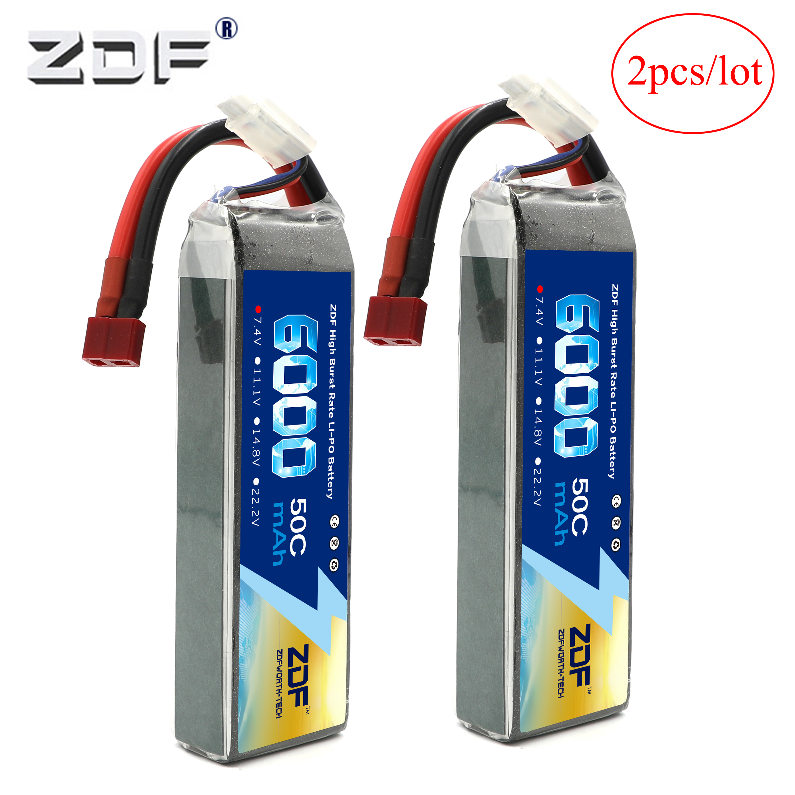 ZDF Power 2pcs/lot <font><b>2S</b></font> 7.4V <font><b>6000mAh</b></font> 50C RC <font><b>Lipo</b></font> Battery For RC Racing Car Boat Camera Drones FPV TRX TRX4 1/10 Car image