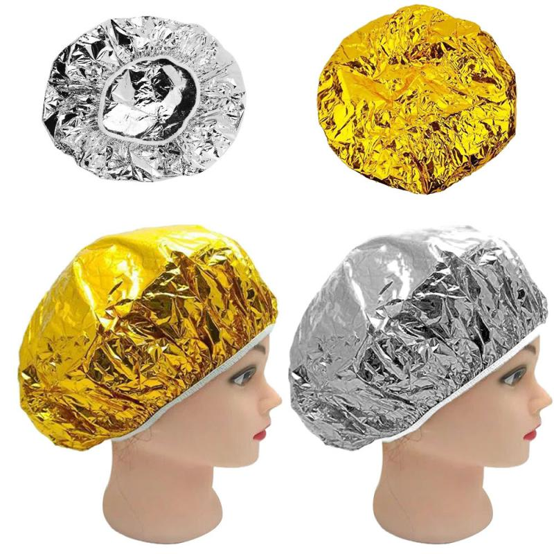 Portable One-off Hotel Home Waterproof Durable Elastic Aluminum Foil Shower Cap Bathing Salon Hair Head Hat Cleaning Accessories