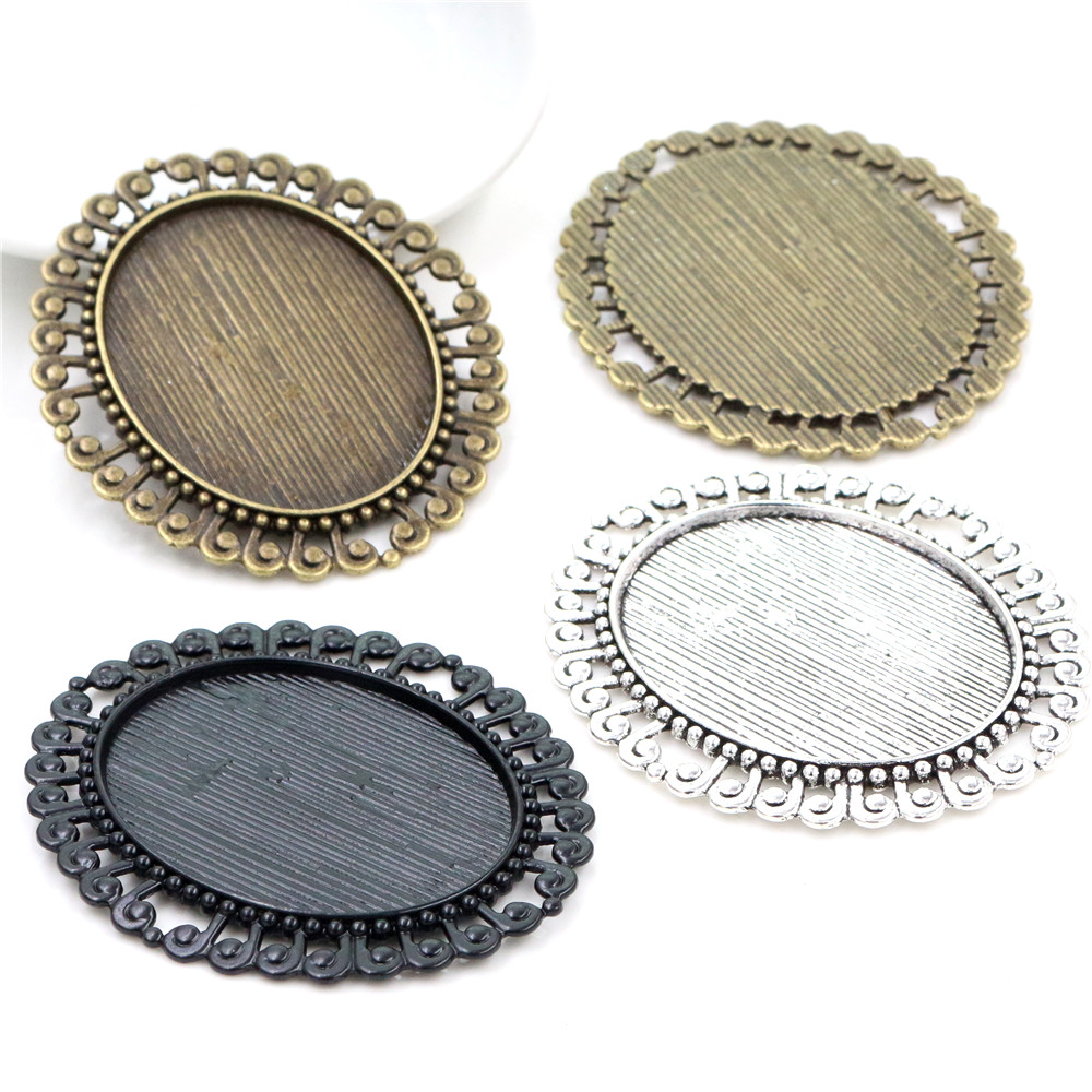 New Fashion 5pcs 30x40mm Inner Size Antique Silver Plated Bronze Black Plated Pattern Style Cabochon Base Setting Pendant Tray