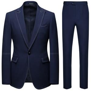Image 1 - Men Suits 2 Piece Sets Designers Single buckle Groom Wedding Dress Slim Fit Formal Offices Classic Prom Suit Jacket Trousers