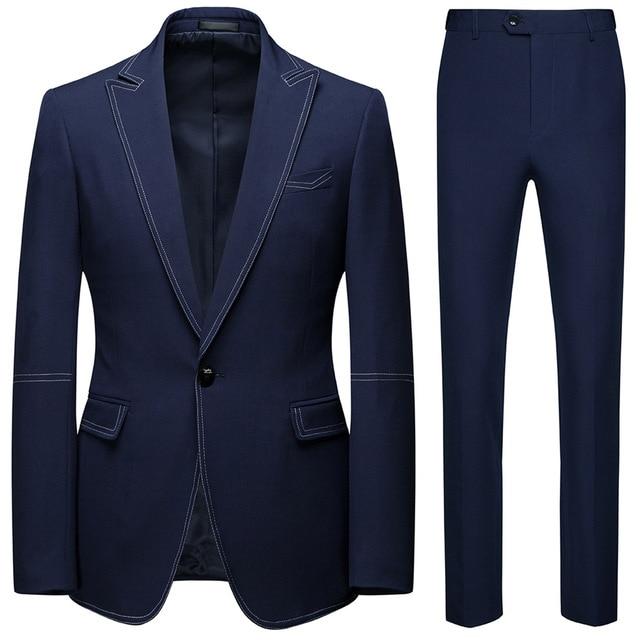 Men Suits 2 Piece Sets Designers Single buckle Groom Wedding Dress Slim Fit Formal Offices Classic Prom Suit Jacket Trousers